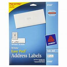 avery 174 easy peel 174 white address labels for inkjet printers 8160 1 quot 2 5 8 quot of 750 paper