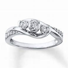 3 stone diamond ring 1 3 ct tw cut 10k white gold 990890903