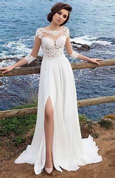3 4 long sleeves beach bohemian wedding dresses 2018 chiffon scoop neck appliques long bridal