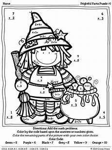 halloween addition coloring worksheets color by number codes addition halloween puzzles