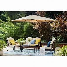 hton bay 11 ft aluminum cantilever solar led offset outdoor patio umbrella in putty