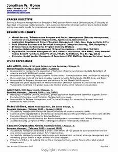 top program manager resume objective statement management