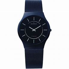 skagen mens black bracelet watch 233ltmb skagen from watch company uk