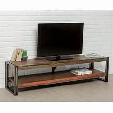meuble tv en teck industriel quot loft quot 160cm marron