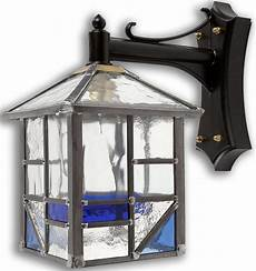 arundel traditional outdoor wall light blue leaded glass