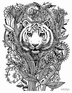 quot tiger tangle in black and white quot metal prints by micklyn