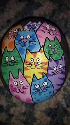 Colourful Cat Painted Steine Bemalen Steine