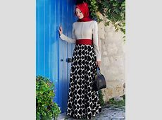 Black and white and red dress with a red hijab   Muslimah