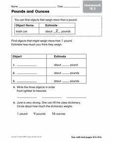 pounds and ounces homework 3 worksheet for 2nd 3rd grade lesson planet