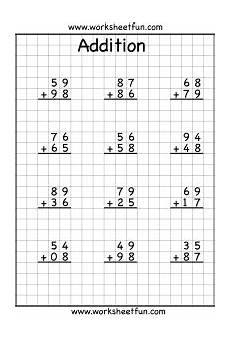 2nd grade math worksheet addition with carrying 2 digit addition with regrouping carrying 5 worksheets