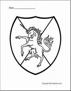 coloring page shield unicorn abcteach