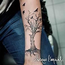 tatouage arbre avec oiseaux avant bras homme tatouage