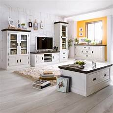 landhausmobel weiss wohnzimmer 5tlg landhaus wohnwand sideboard couchtisch akazie