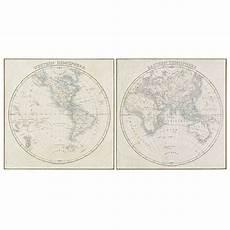 maisons du monde 2 toiles imprim 233 carte du monde et bambou