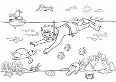 Unterwasser Tiere Malvorlagen Englisch Kostenlose Malvorlage Sommer Taucher Unter Wasser Zum
