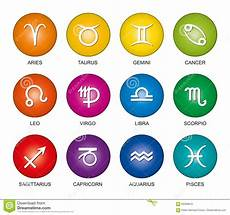 Sternzeichen Und Farben - astrological signs of the zodiac rainbow colors stock