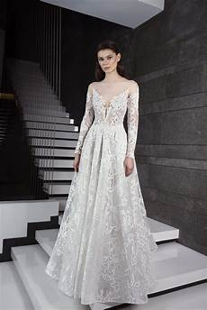 long sleeve illusion deep sweetheart neck lace a line wedding dress kleinfeld bridal