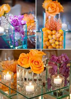 rainingblossoms purple and orange wedding theme