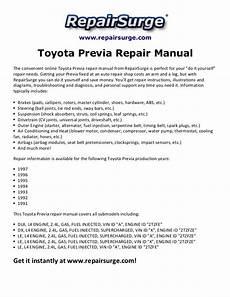 car repair manuals online free 1997 toyota previa parking system toyota previa repair manual 1991 1997