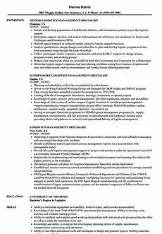 logistics management specialist resume sles velvet