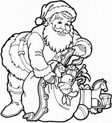 weihnachtsmann mit vollem sack ausmalbild malvorlage