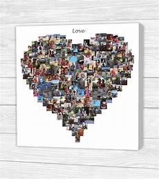 personalisierte herz foto collage leinwand