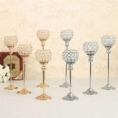 pillar tall gold wedding centerpieces crystal candle