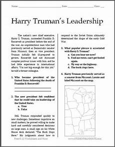 free printable worksheets for high school 18654 harry truman s leadership free printable worksheet for high school american his history