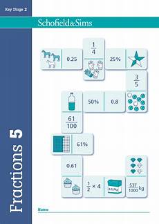 fraction worksheets key stage 2 3996 fractions decimals and percentages book 5 year 5 at schofield and sims
