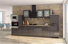 Einbauküche Mit Elektrogeräten - einbauk 252 che mit elektroger 228 ten k 252 chenzeile hochglanz grau