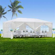 zeny 10 x20 outdoor canopy party wedding tent white gazebo pavilion with6 side walls walmart com