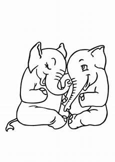 ausmalbild kichernde baby elefanten zum ausdrucken