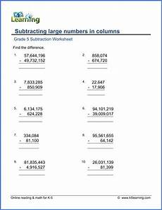 maths addition and subtraction worksheets for grade 5 grade 5 subtraction worksheet subtracting large numbers