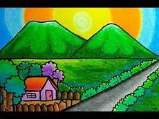 Gambar Pemandangan Gunung Dan Rumah Mudah Untuk Pemula
