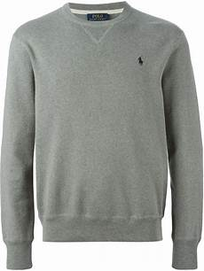 polo ralph logo embroidered sweatshirt in grey