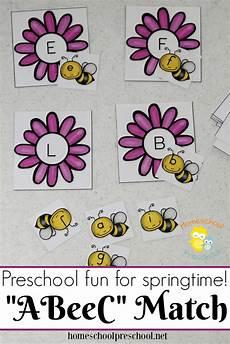 printable bee themed preschool alphabet matching game