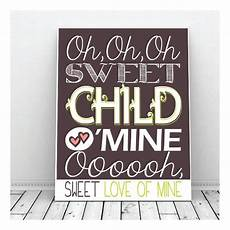 sweet child o mine guns n roses nursery art wall