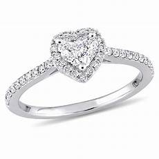 julianna b 3 4 ct t w heart shaped diamond frame engagement ring in 14k white gold