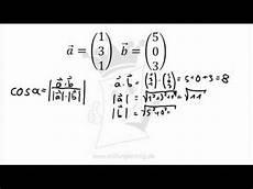 vektorrechnung winkel zwischen zwei vektoren berechnen