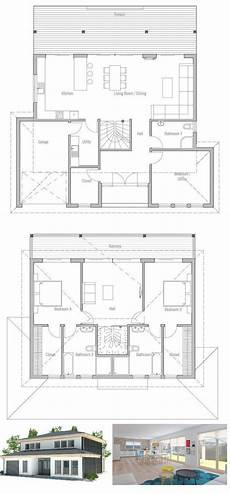 modern small house plan with full wall height windows and abundance of natural light three