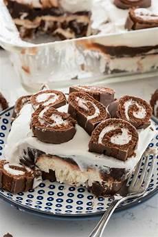 swiss roll layered no bake dessert for crust