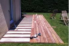 terrasse en palette sur dalle beton pose terrasse bois