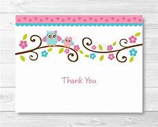 Thank You Card Template Pages by Pink Owl Thank You Card Folded Card Template Owl Baby