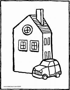 Ausmalbilder Haus Ein Haus Mit Einem Auto Kiddimalseite