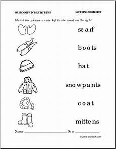 winter matching worksheets for preschoolers 20060 worksheet winter clothing match pictures to words preschool primary abcteach