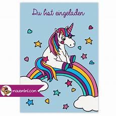 Unicorn Malvorlagen Kostenlos Text Din A6 Einladungskarte Kindergeburtstag Einhorn