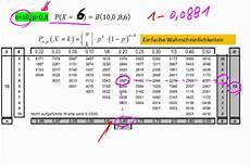umgang mit der binomialverteilungstabelle teil 3