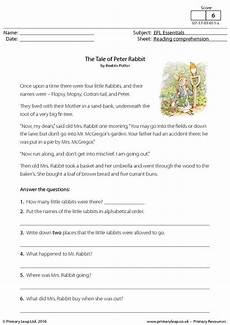 year 3 literacy worksheets primary resources efl comprehension the tale of rabbit primaryleap