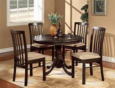 5pc round 42 quot kitchen dinette set table and 4 wood or upholstered chairs walnut ebay
