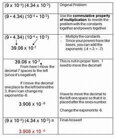 scientific notation and monomials exponents scientific